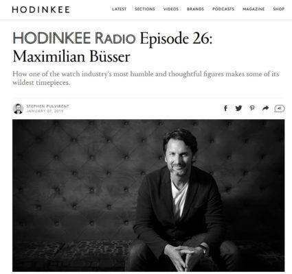 Article Hodinkee Maximilian Büsser